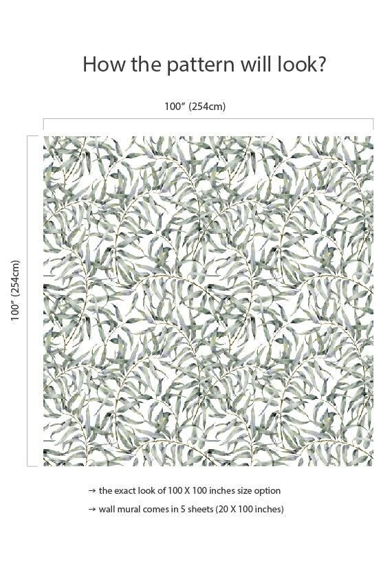 Eucalyptus Blad Verwisselbare Behang Jungle Tijdelijke Behang, Huurders  Vriendelijk Behang, Peel En Stick Muur Sticker Voor Appartementen