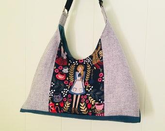 Alice in Wonderland Shoulder Bag in Gray/Dark Navy, Handbag, cotton steel rifle, canvas wonderland
