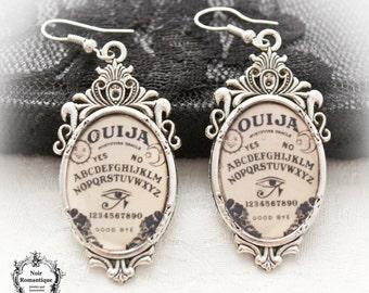 Ouija gothic earrings-Gothic earrings-Occult jewelry-Cameo earrings-Silver earrings-Ouija board-18x25mm