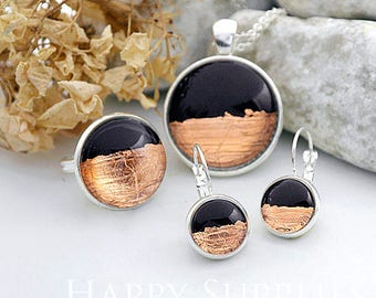 Handmade Black + Rose Gold Foil Glass Cabochon (FG001-R)
