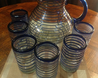 Mexican Hand Blown Glass Pitcher And Tumblers