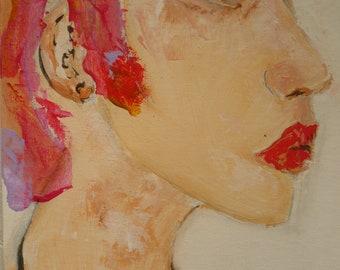 Sydney. Woman acrylic painting on canvas Board