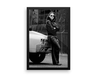 Classic muscle car black and white Framed poster