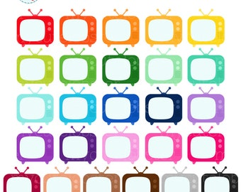 Rainbow TVs Clipart Set - clip art set of televisions, TV, rainbow, movies, films - personal use, small commercial use, instant download