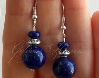Lapis Lazuli Earrings Blue Gemstone Earrings  jewelry Dark blue earrings Blue stone earrings 925 Sterling Silver Earrings Tibetan Silver
