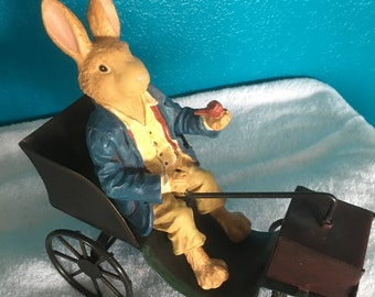 Vintage Russ Berrie Collection - Metal Rabbit and Carriage - Easter Decoration- Olde World Figurine