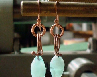 Robins Egg Blue Rosebuds- Handmade Earrings
