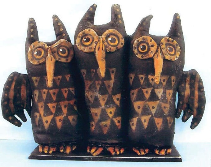 SE865E -  Folk Art Owls, Bird Doll Art Pattern - PDF Download by Susan Barmore