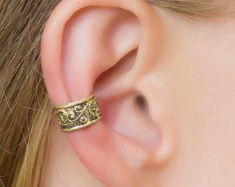 Antique Cuff. Tribal Earcuff. Brass Ear Cuffs. Ear Cuff Non Pierced. Boho Earring. Gipsy Earrings. Ear Cuffs Earring. Ear Cuff Gold