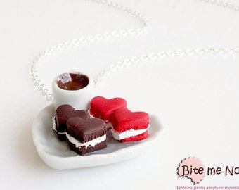 Heart Shaped Macaroons on a Plate Necklace, Macaroon Necklace, Macaron jewelry, Mini Food, Mini Macaroon, Tiny Macarons, Kawaii Necklace