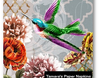 4 Decoupage Napkins, Paper Napkins, COLIBRI AND FLOWERS. Printed Paper Napkins for Decoupage, Collage or Party.