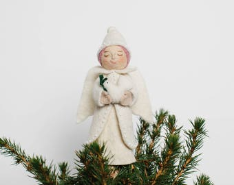 Felt Angel Tree Topper, Joy to the World Angel, Felt Christmas Tree Topper