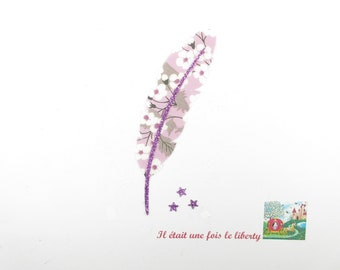 Applied fusible fabric feather liberty Mitsi flex purple glittery patch iron on fusible feather pattern liberty coat