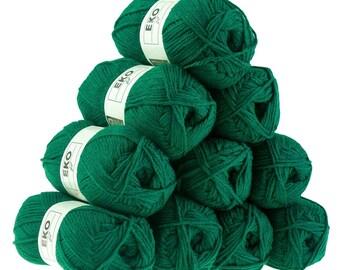 10 x 50g knitted Yarn eko fil, #109 Fir Green