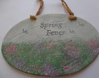 Spring Fever ceramic plaque.
