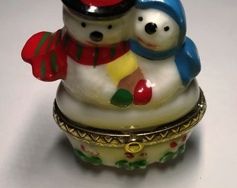 Small Porcelain Snowman/Christmas Box