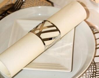 Silver Napkin Wraps, Wedding Napkin Wraps, Foil Chic Design - PACK OF 20