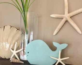 Medium whale wood cut out nursery/kids room decor
