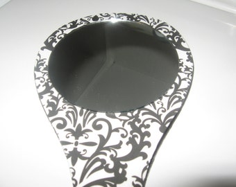 Large Damask Handheld Mirror-Hand Held Mirror