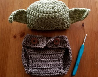 Yoda Hat with Diaper Cover - Newborn