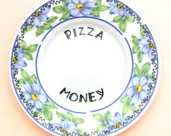 Pizza Money Box Ring Dish Trinket Holder Spare Change Collection Plate Foodie Gift for Her Funny Birthday Present Fast Food Hungry Hangry
