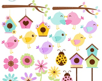 Spring Birds Clipart Set - clip art set of birds, branches, birdhouses, flowers - personal use, small commercial use, instant download