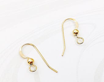 Gold Ear Wires, French Hook,  Gold Filled, Earring Findings, 7.5mm x 18mm, EWRS018
