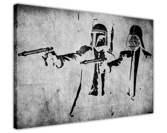 Banksy Artwork Starwars Pulp Fiction Framed Prints Canvas Wall Art Pcitures Home Decoration Poster Graffiti Mural