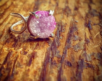 Druzy Ring Pink Drusy Ring Pink Stone Drusy Crystal Ring Druzy Crystal Ring Pink Crystal Ring Pink Druzy Pink Drusy Bohemian Druzy Ring