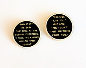 I like You Quote Pin 2 Pack Set Fahrenheit 451 hard enamel, book lover, literary gifts