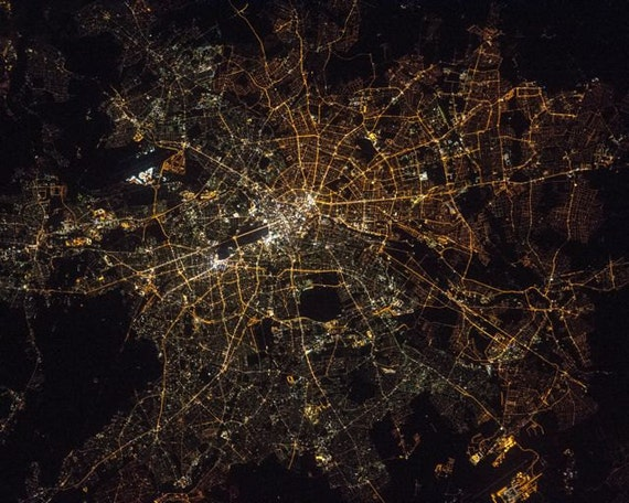 items similar to berlin night lights from space satellite view german capitol city streetlights. Black Bedroom Furniture Sets. Home Design Ideas