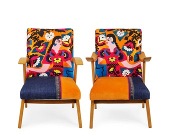 Best Friends. Two vintage suzani chairs, 1960's classics