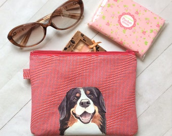 Bernese Mountain Dog Flat Pouch, Dog Lover Gift, Cosmetic Pouch, Dog Birthday Gift, Zipper Pouch, Gift For Her, Dog Gift
