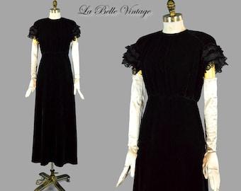 30s Liquid Velvet Dress S M Vintage Lace Ruffled Sleeves Deco Gown