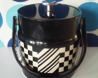 Black and Cream Vintage Ice Bucket- Retro Geometric Design
