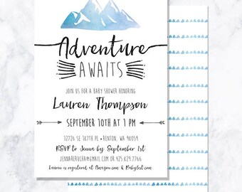 DIGITAL Adventure Awaits Baby Shower Invite