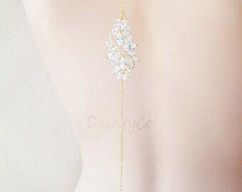 Gold - Bridal Back Drop Necklace backless wedding dress low open back dress bride bridal jewelry wedding necklace