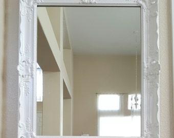 Antique Ornate White Framed Mirror