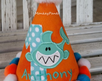 Boys 1st Birthday Shark Hat  - Shark Birthday Party -Boys Shark Hat - Shark Pool Party - Orange Birthday Hat - Photo Prop