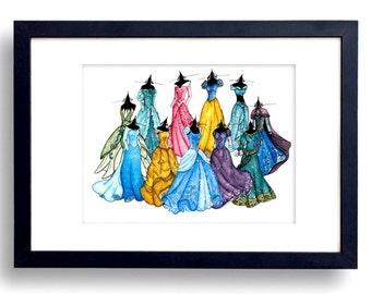 SALE - 8x10 - Disney Princesses Sketch Watercolor - Fine Art Sketch Print