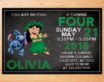Lilo and Stitch Invitation, Lilo and Stitch Birthday, Lilo and Stitch Party, Lilo and Stitch Invitations, Personalized Invitation