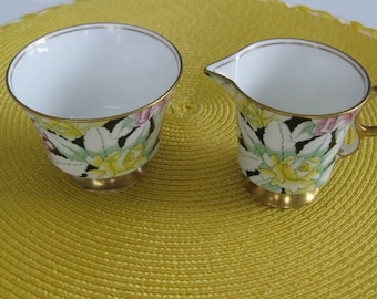 ADDERLEY CREAMER and Sugar.  Bone China.  Art Deco Pattern. Black/Green/Yellow.  Made in England