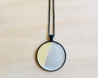 38mm Black Pendant Necklace • Silver Leaf and Wood • Resin • 76cm Black Rolo Chain • Lobster Clasp • Nickel Free