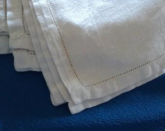 Five Linen Ivory Hemstitched Napkins