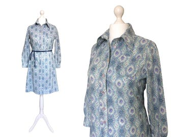 Vintage Horrockses Fashions Dress | 70's Cotton Print Dress | Blue 1970's Floral Shirt Dress