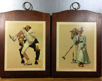 Norman Rockwell Prints on Wood Old Sports