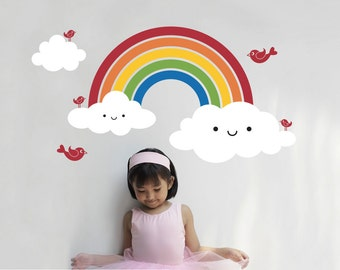 Happy Rainbow Wall Decal: Rainbow Baby Nursery Kids Room Decor