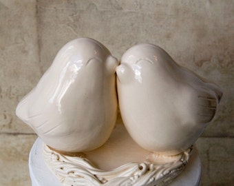 Ivory Love Bird Cake Topper