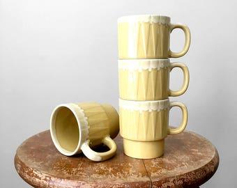 Set of 4, Vintage, 1970's, Yellow, Creme, Japanese, Pottery, Stacking Mugs, Mugs, Cups