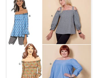 Sewing Pattern for Misses' Off-the-Shoulder Top, Butterick Pattern 6519, Women's Tops, Plus Size, Long Sleeve, Off Shoulder Tops